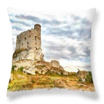 Mirow Castle Ruins In Poland Throw Pillow