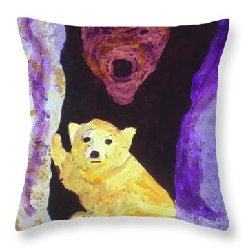 Throw Pillow featuring the painting Cave Bear With Cub by Donald J Ryker III