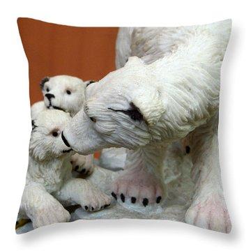 Polar Bear And Cubs Throw Pillow by Allen Beilschmidt