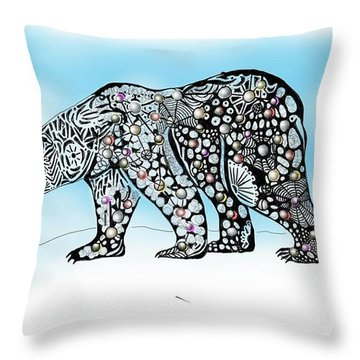 Polar Bear Doodle Throw Pillow