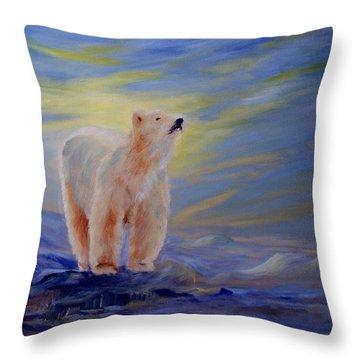 Polar Bear Throw Pillow by Joanne Smoley