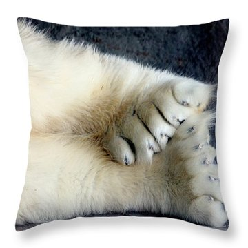 Polar Bear Paws Throw Pillow