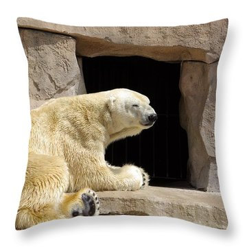 Polar Bear Prayers Throw Pillow by Linda Mishler