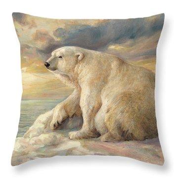 Throw Pillow featuring the painting Polar Bear Rests On The Ice - Arctic Alaska by Svitozar Nenyuk