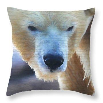 Polar Bear Wooden Texture Throw Pillow by Dan Sproul