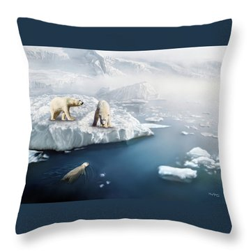 Throw Pillow featuring the digital art Polar Bears by Thanh Thuy Nguyen