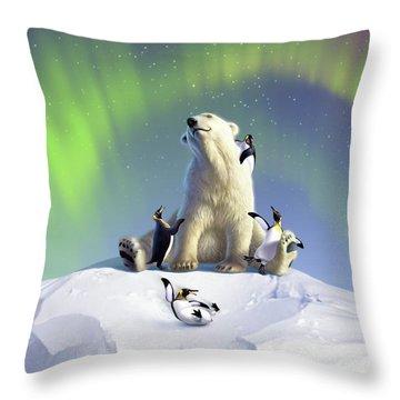 Polar Opposites Throw Pillow