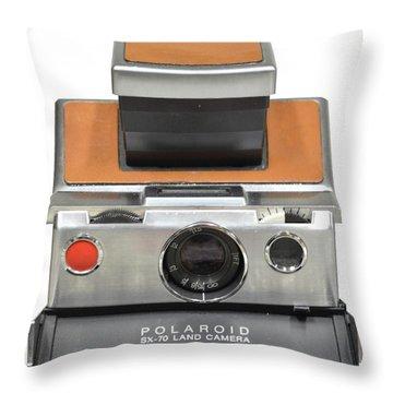 Polaroid Sx70 On White Throw Pillow