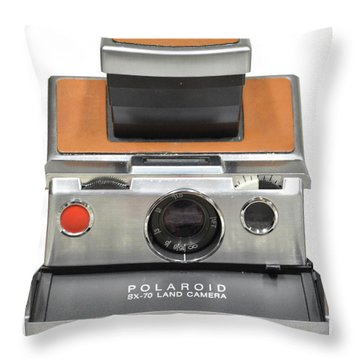 Polaroid Sx70 On White Throw Pillow