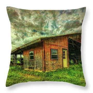 Throw Pillow featuring the photograph Pole Barn by Lewis Mann
