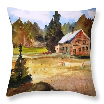 Polebridge Mt Cabin Throw Pillow