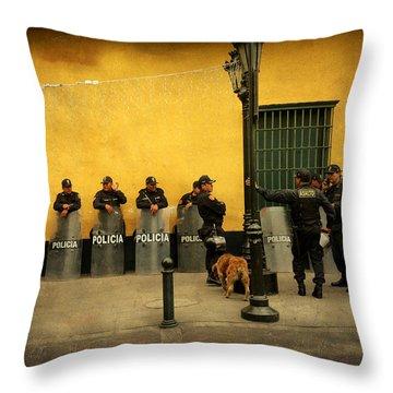 Policia In Lima Peru Throw Pillow