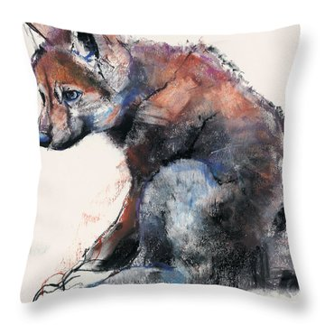 Polish Wolf Pup Throw Pillow