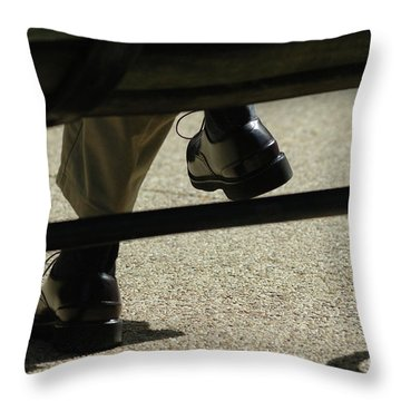 Polished Shoes On Bench Throw Pillow