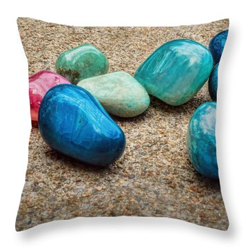 Polished Stones - Photography Throw Pillow by Ann Powell