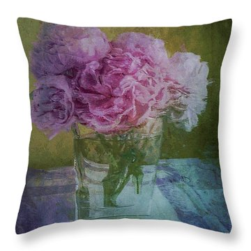 Throw Pillow featuring the digital art Polite Peonies by Alexis Rotella