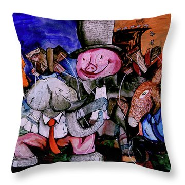 Throw Pillow featuring the painting Political Circus by eVol i