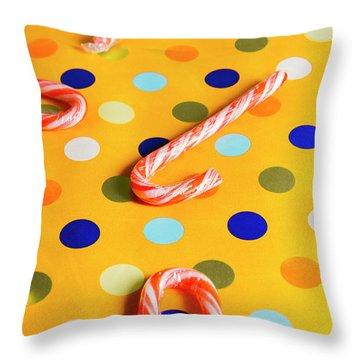 Polka-dot Christmas Canes Throw Pillow