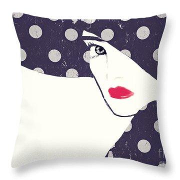 Polka Dot Fashion Hat Throw Pillow
