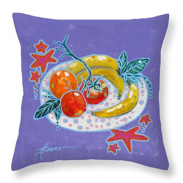Polka-dot Plate  Throw Pillow by Adele Bower