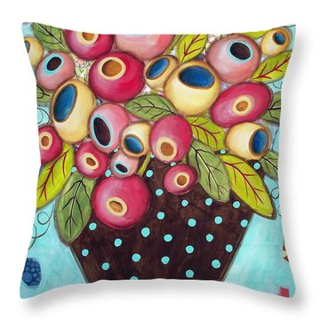 Polka Dot Pot Throw Pillow by Karla Gerard