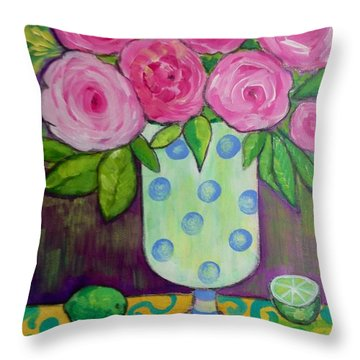 Throw Pillow featuring the painting Polka-dot Vase by Rosemary Aubut