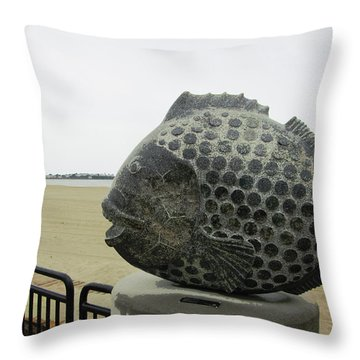 Polka Dotted Fish Sculpture Throw Pillow