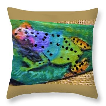 Polka-dotted Rainbow Frog Throw Pillow