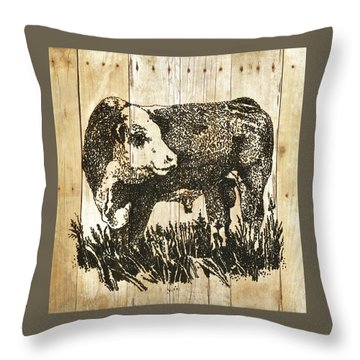 Throw Pillow featuring the photograph Polled Hereford Bull 11 by Larry Campbell