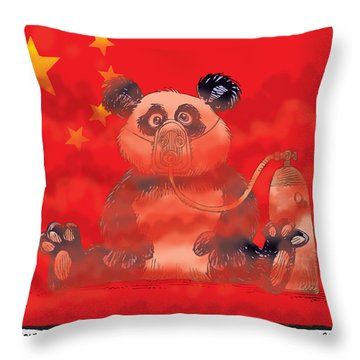 Pollution In China Throw Pillow