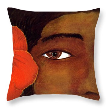 Polynesian Girl #67 Throw Pillow by Donald k Hall