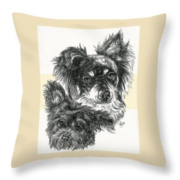Pomapoo Father And Son Throw Pillow by Barbara Keith