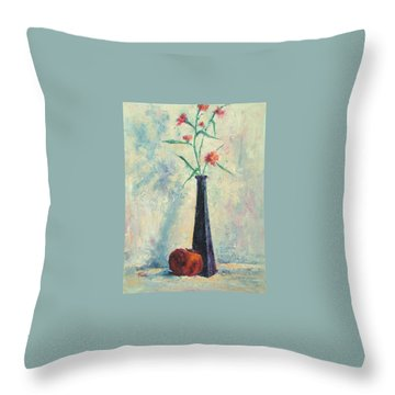 Pomegranate And Black Vase Throw Pillow by Jill Musser