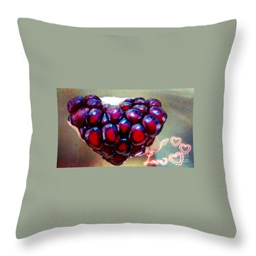 Throw Pillow featuring the digital art Pomegranate Heart by Genevieve Esson