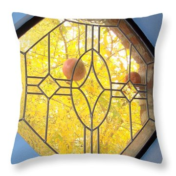 Pomegranate Peek A Boo Throw Pillow by Laurie Morgan
