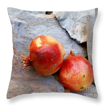 Throw Pillow featuring the photograph Pomegranates On Stone by Cindy Garber Iverson