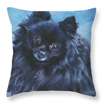 Pomeranian Black Throw Pillow