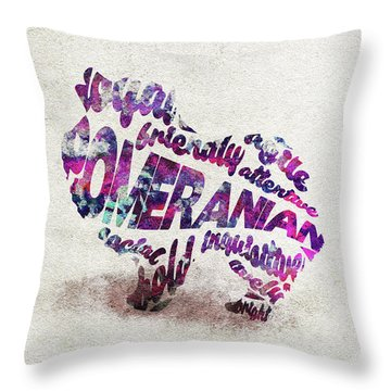 Throw Pillow featuring the painting Pomeranian Dog Watercolor Painting / Typographic Art by Ayse and Deniz