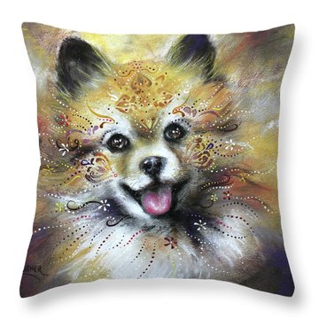 Pomeranian Throw Pillow by Patricia Lintner