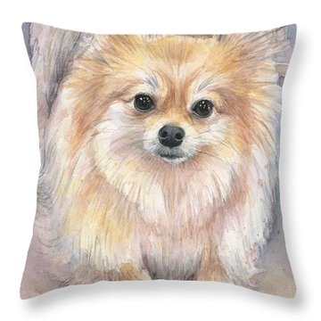 Pomeranian Watercolor Throw Pillow