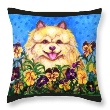 Throw Pillow featuring the painting Pomeranian With Pansies by Laura Aceto