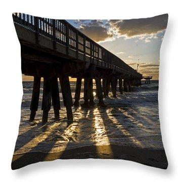 Pompano Beach Fishing Pier At Sunrise Florida Sunrays Throw Pillow