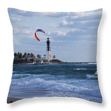 Pompano Beach Kiteboarder Hillsboro Lighthouse Throw Pillow