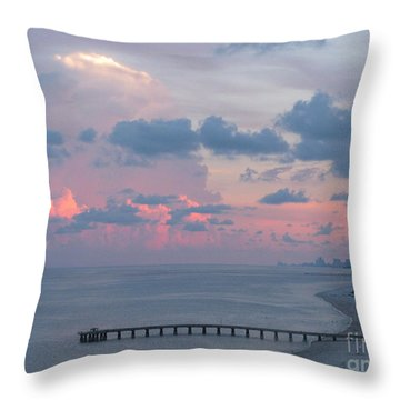 Pompano Pier At Sunset Throw Pillow