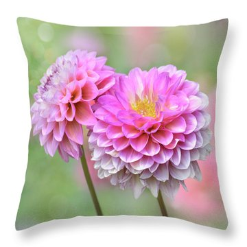 Throw Pillow featuring the photograph Pompon Dahlias by John Poon
