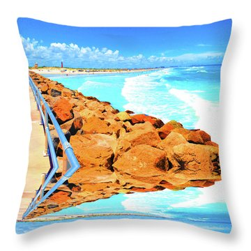 Ponce Inlet Jetty  Throw Pillow