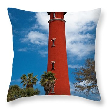 Ponce Inlet Lighthouse Throw Pillow by Christopher Holmes