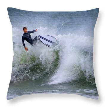 Throw Pillow featuring the photograph Ponce Surf 2017 by Deborah Benoit