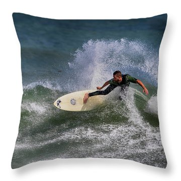 Throw Pillow featuring the photograph Ponce Surfer 2017 by Deborah Benoit