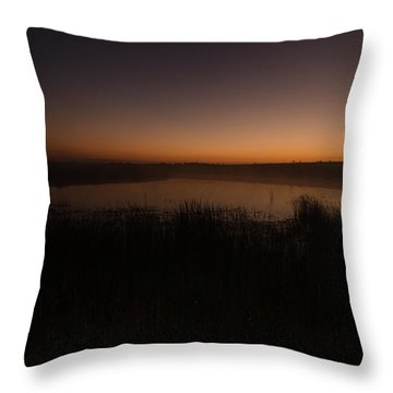 Pond And Cattails At Sunrise Throw Pillow